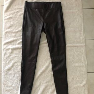 Ann Taylor LOFT Brown Skinny Fuax Leather Pant S